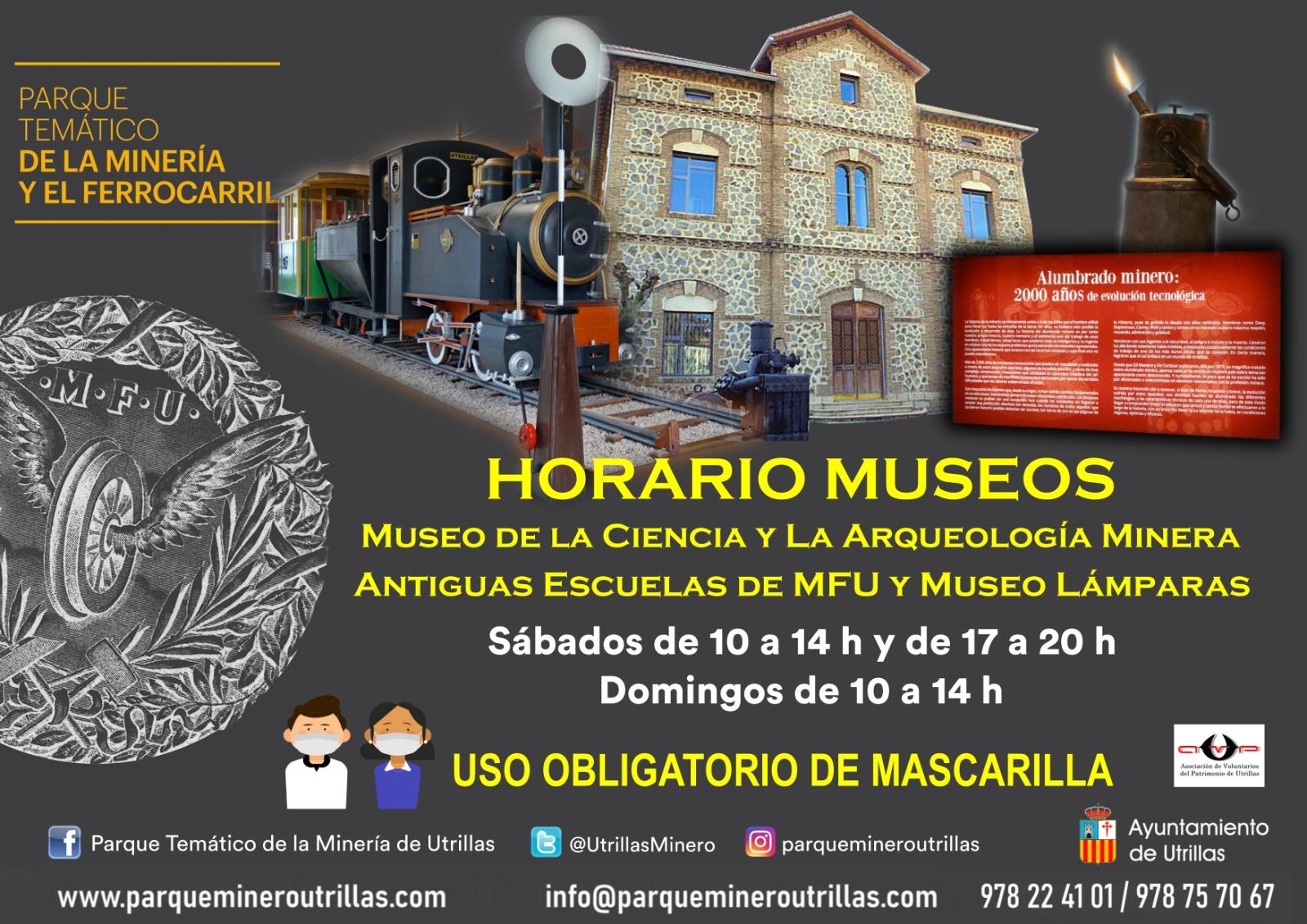 horarios museos Parque Minero Utrillas